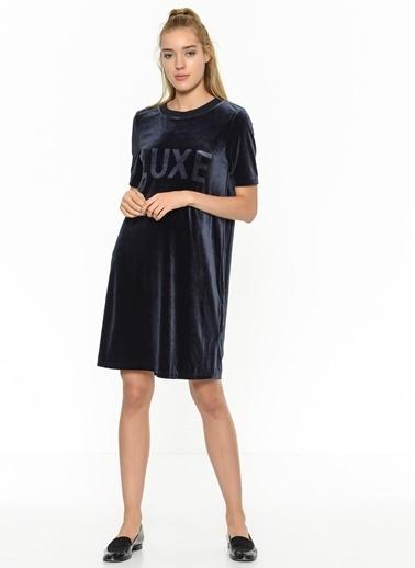 Only Yazı Baskılı Midi Elbise Lacivert